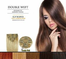 Clip In Remy 100% Human Hair Extensions Full Head Double Wefted Extra THICK 8pc