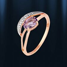 Russische Rose Rotgold 585 RING mit  Amethyst. Sehr niedlich. ROSE GOLD RING
