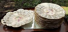 Antique English Porcelain A Rockingham Plate -H/painted floral panel 1 C.1820