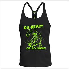 Mens Training Gym Vest Bodybuilding Fitted Muscle Racerback Hulk Marvel Go Heavy