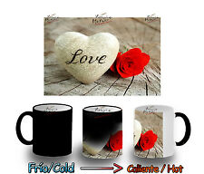TAZA MAGICA LOVE AMOR ROSA FLOR MAGIC MUG tasse es