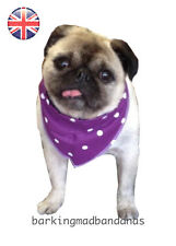 Handmade Dog Bandanas, UK Dog Bandanas, Plum Polka Dot, Dog Clothing, Cotton