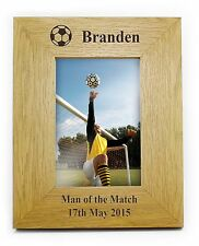 Personalised Oak Finish 6x4 Football Photo Frame - Birthday Gift - FREE DELIVERY