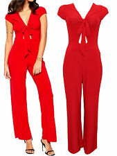 Keyhole Front Jersey Jumpsuit 8 10 12 14 16  Red
