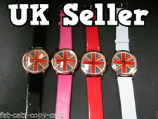 FASHION UNION JACK ENGLAND FLAG BIG FACE BLING FAUX LEATHER WRIST WATCH UKSELLER