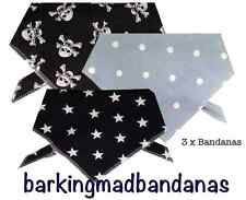 3 x Dog Bandanas, Handmade, Dog Supplies, Dog Bandanas, Dog Clothing, UK, dogs