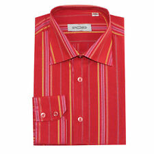 XPOSED Mens New Smart Formal Office Work Long Sleeve Button Maroon Stripe Shirt