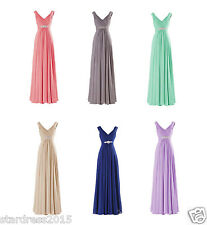 New V- Neck Evening Pageant Dresses Formal Prom Wedding Party Bridesmaid Gowns