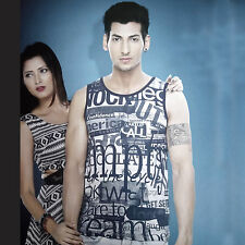 (Size-XL-Chest-42 ) Random Text Printed Cotton Sando For Mens (SKU-JB93198)
