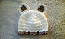 Handmade Crocheted Baby Unisex Beanie Hat with Ears various colours 100% Acrylic