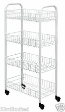 New White Kitchen Trolley Wheels Plastic Coated Home Rolling Cart Storage Unit