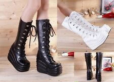 Punk Rock Goth Cosplay Anime Emo Combat Cyber Festival Platform Laced Knee Boots