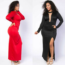 Fashion Sexy Womens Long Sleeves Backless Evening Party Cocktail Slit Long Dress