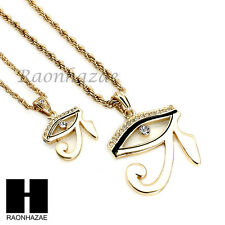 "ICED OUT EYE OF HORUS HERU EGYPTIAN PENDANT W/ 22"" 26"" ROPE CHAIN NECKLACE SET31"