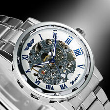 Winner Military Mechanical Skeleton Mens Stainless Steel Band Sport Wrist Watch