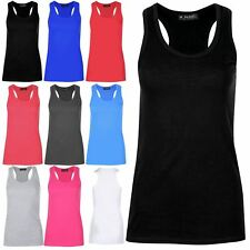 Womens Racer Muscle Back Plain Sleeveless Round Neck Cotton Slim Fit T Shirt Top