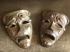 Pair Vintage Decorative Ornate Ornamental Brass Metal Small Tragedy Face Masks