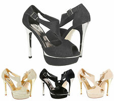 Ladies High heel Diamante Peep Toe Wedding Evening Party Stiletto Sandals Size