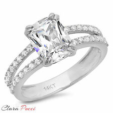 3.50 CT Engagement ring Simulated Cushion cut 14K white Gold Bridal Jewelry VVS1