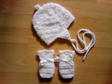 Handmade Crocheted Baby Unisex Hat/Helmet/Bonnet & Mitts Acrylic various colours