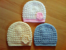 Handmade Crocheted Baby 'V' Stitch Unisex Beanie Hat  Acrylic  various colours