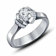 Sterling Silver 925 Cubic Zirconia Solitaire W/ Accents Engagement Promise Ring