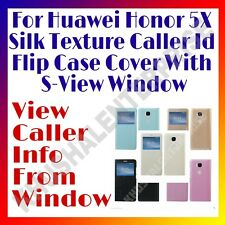 For Huawei Honor 5X Silk Texture Caller Id Flip Case Cover With S-View Window
