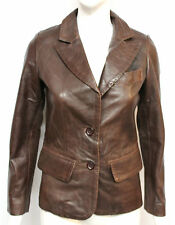 Mary Womens Ladies Brown Designer 2 Button Blazer Short Real Leather Coat Jacket