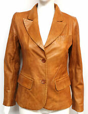 Mary Womens Ladies Tan Designer 2 Button Blazer Short Real Leather Coat Jacket