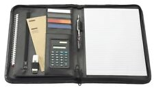 A4 Zipped Conference Folder Portfolio RING BINDER Holds TABLET Leather Presenter