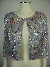 Hand crocheted sequinned grey cardigan. Sizes 8 or 10 (ref G20)