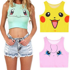 Pokemon GO Womens Crop Top Tank Top - Pikachu Charmander Squirtle Bulbasaur