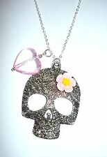 "Pretty large sugar skull necklace with flower and pink heart on long 32"" chain"