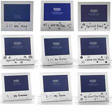 SILVER PLATE PHOTO FRAME FOR MUM DAD AUNTIE UNCLE GRANDAD GRANDMA DOG  AND MORE
