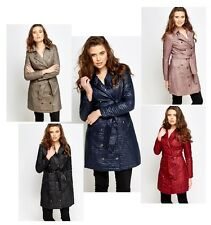 WOMENS LADIES BELTED LONG QUILTED PARKA JACKET TRENCH MACS COAT SIZE 8-18