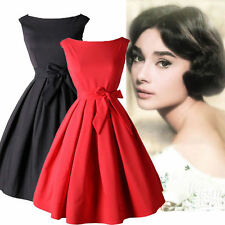 50's Women's Vintage Audrey Hepburn Style Swing Party Rockabilly Evening  Dress