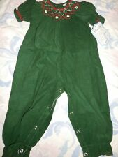 nwt Remember Nguyen green cord smocked bubble romper baby girl 6 m or 12 m