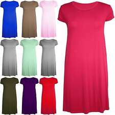 Womens Ladies Cap Sleeves Jersey Plain Round Neck Flared Swing Dress Long Top