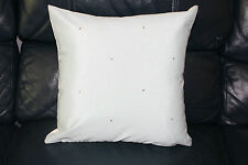 Cushion cover Handmade Faux Silk in duck egg turquoise with swaroski crystals