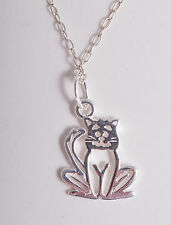STERLING SILVER CUTE CAT PUSSYCAT PUSSY CHARM PENDANT CHAIN NECKLACE 925