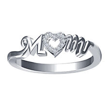 Riva jewels White Platinum Over 925 Silver Round Cut CZ Beautiful Mom Heart Ring