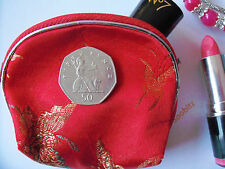 Embroidered Satin Zip Up Coin Makeup Bag Purse Gift Bag - Red