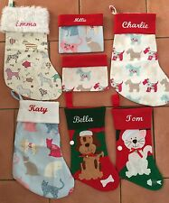 Christmas Dog or Cat Personalised Embroidered Stocking + lined or small sack