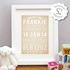 Personalised New Baby Birth Nursery Art Print or Framed Picture Christening Gift
