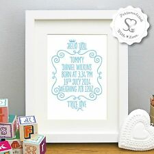 Personalised New Baby Birth Christening Gift Print or Framed Picture Nursery Art
