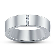 "American Diamond Round ""Three Stone"" Band Ring .925 Silver White Platinum Finish"
