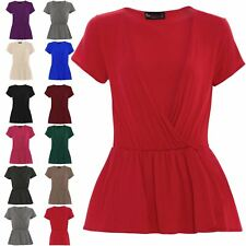 Womens Ladies Cap Sleeve Cross Wrap Over Front Oversized Blouse Tops Plus Size