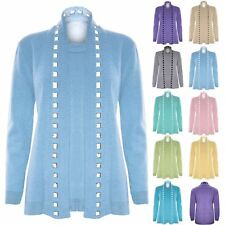 Womens Ladies Open Twin Long Sleeves Fine Knitted Sweater Jumper Cardigan Top