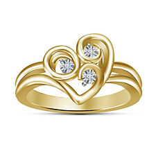 Attractive Look 18K Gold Plated In 925 White American Diamond Three Stone Ring
