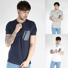 Rawcraft Mens Branded Chest Pocket Button Neck Short Sleeve Cotton T Shirt Top